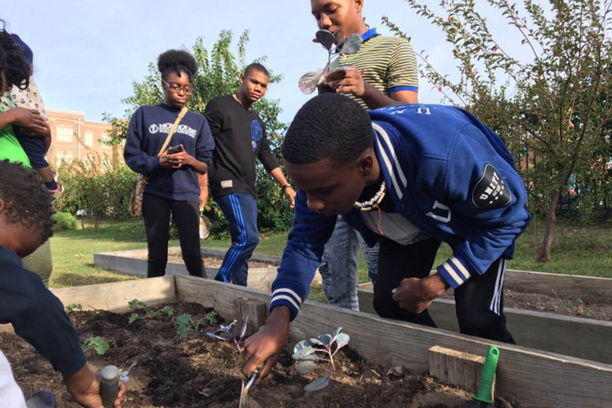 Youth helping to plant a community garden in Macon, Georgia.